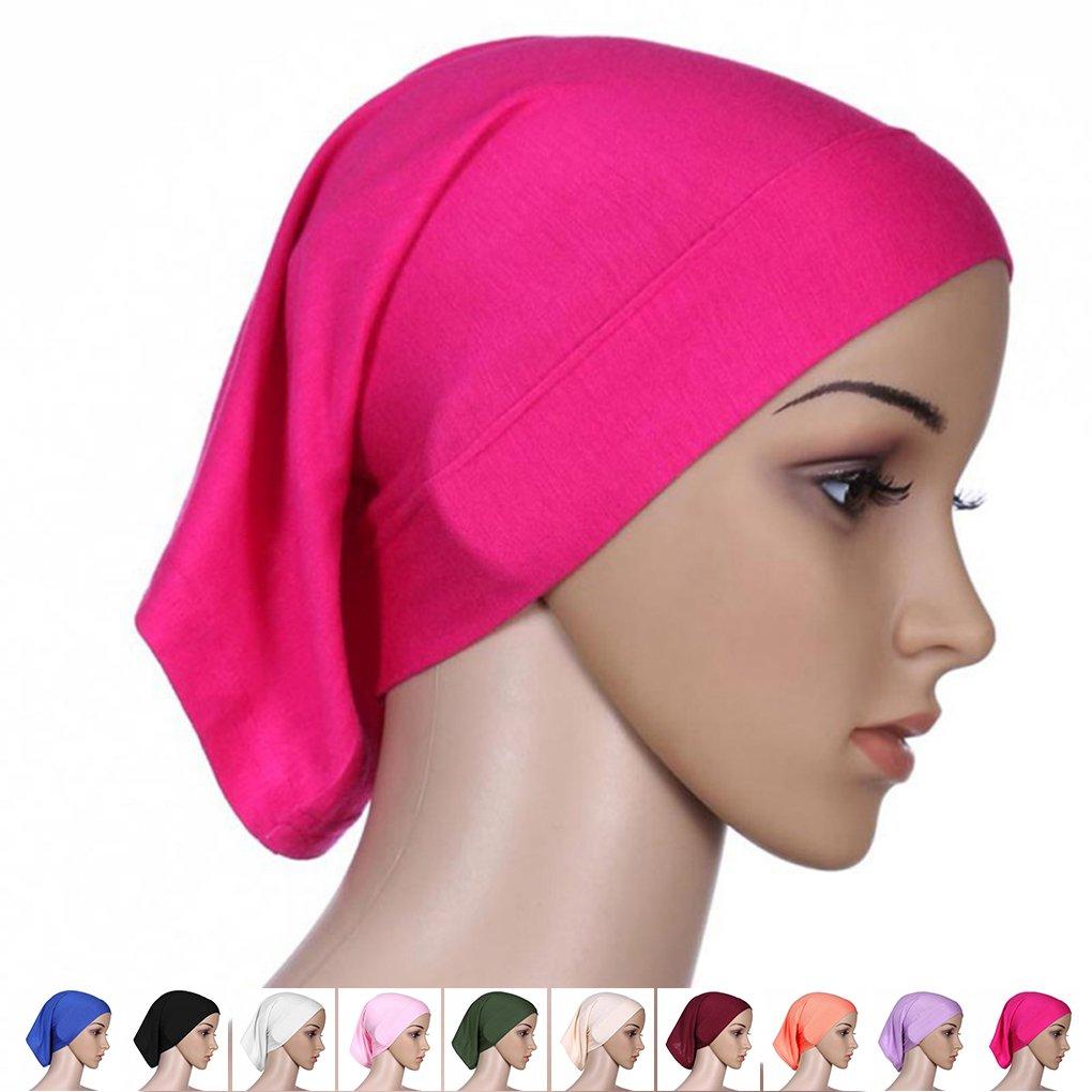 QHGstore Frauen-Kopftuch Elastic Sweat Saugf/ähige Baumwolle Underscarf Hijab Tube Cap Olive