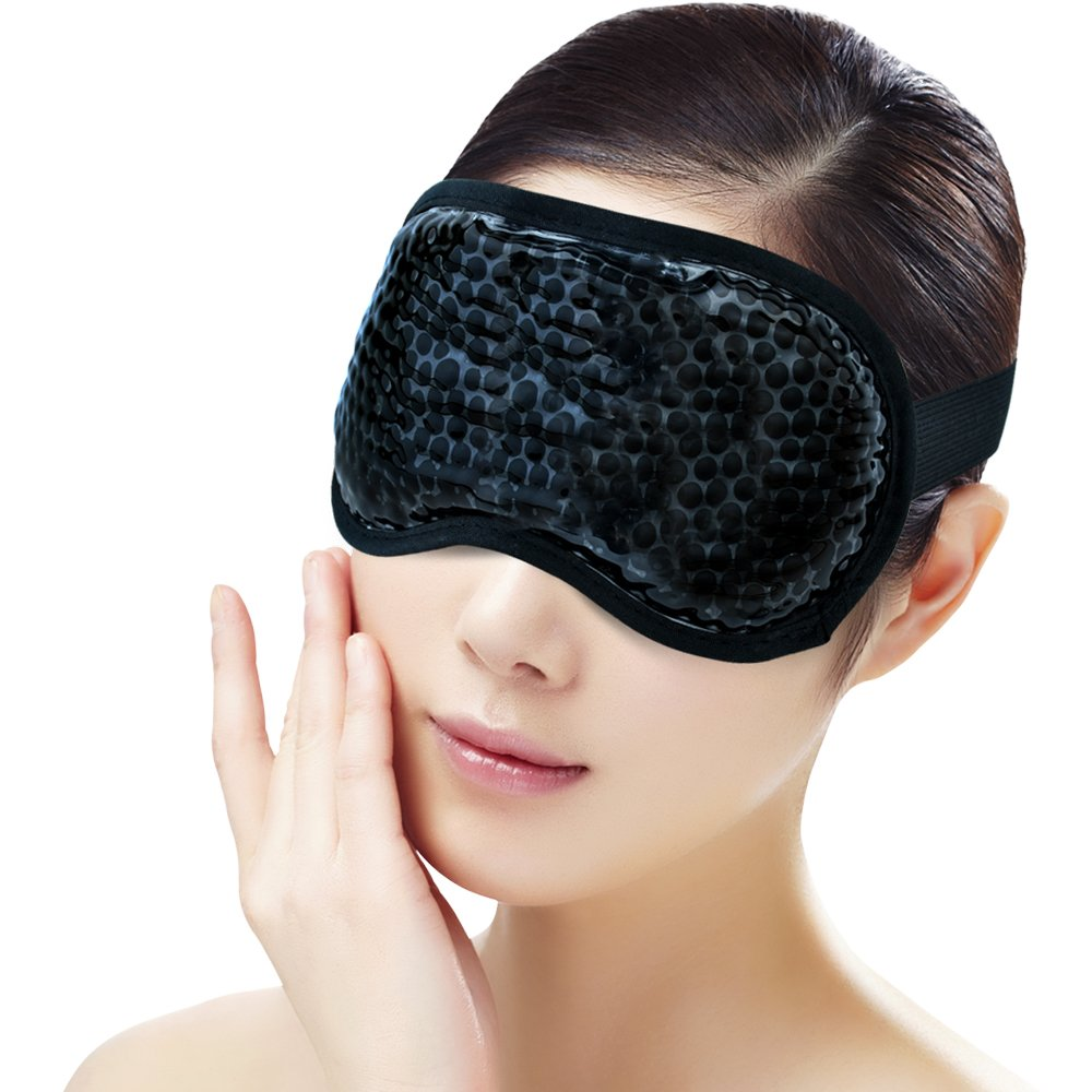 Ice Eye Face Mask for Woman Man,Reusable Gel Beads ice Pack with Soft Plush Backing,Hot Cold Therapy for Puffy Eyes, Dark Circles, Headaches, Migraines, Stress Relief [Black]