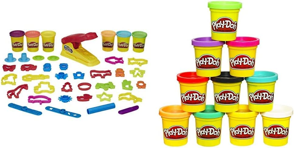 Play-Doh Fun Factory Deluxe Set & Modeling Compound 10 Pack Case of Colors, Non-Toxic, Assorted Colors, 2 Oz Cans, Ages 2 & Up, (Amazon Exclusive), Multicolor