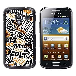 TECHCASE**Cubierta de la caja de protección la piel dura para el ** Samsung Galaxy Ace 2 I8160 Ace II X S7560M ** Cult Quote Symbol Skull Satanism Wallpaper