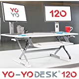 Yo-Yo Desk 120 (WHITE) - Best Selling Height-Adjustable Standing Desk [120cm Wide]. Superior sit-stand solution suitable for all workstations and standing desk workplaces.