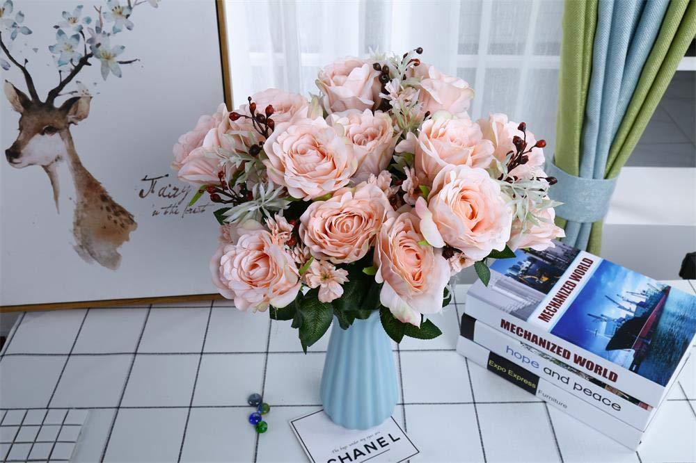 Loveysl 11頭 造花 シルククロス フェイクフラワー リーフ ローズ ウェディング 花飾り ブーケ 2パック オレンジ SC-Artificial Flower-Orange B07GCQYCX3 オレンジ