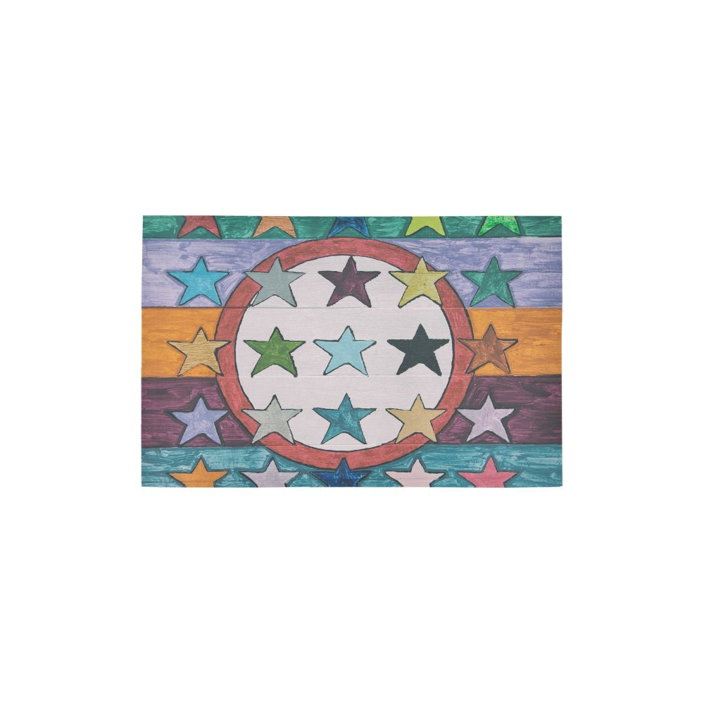 InterestPrint Colorful Stars and Stripes on Wood Panel Carpet Non Slip Modern Area Rugs 2'7'' x 1'8'', Vintage Grunge Rug Mat Collection for Living Dining Room Home Decoration by InterestPrint (Image #1)