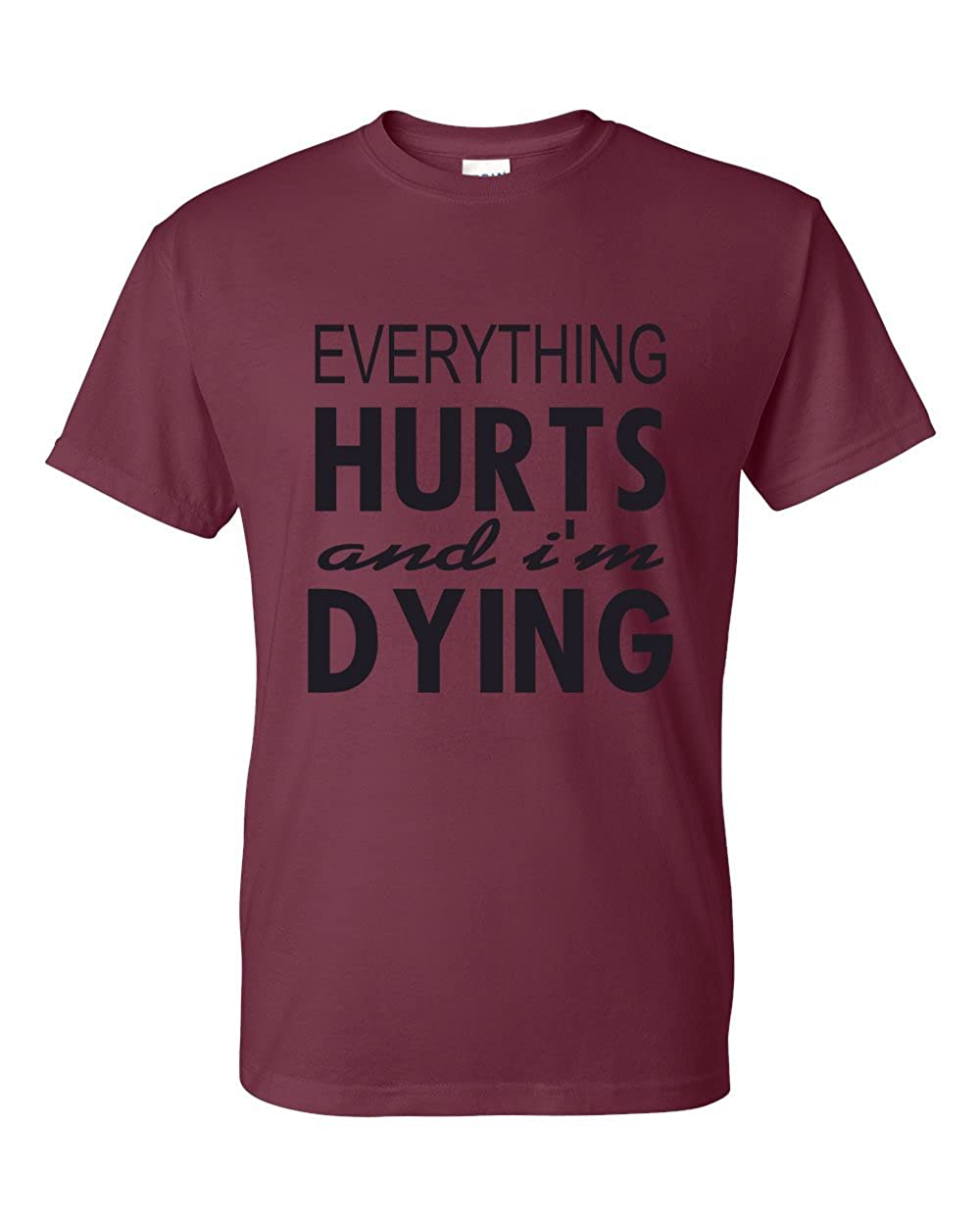 Everything Hurts and Im Dying Funny Shirt T-Shirt Maroon X Large