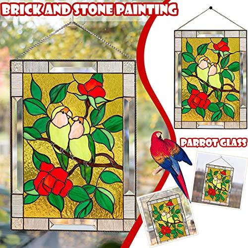 Mortilo Acrylic Bird Wall Decor, Colorful Bird Decoration Hanging Pendant Indoor Wall Art Sculpture Hanging Window Decoration for Bird Lover,for Home Office Decoration Memorial Supplies (B)