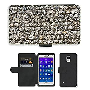 Hot Style Cell Phone Card Slot PU Leather Wallet Case // M00153256 Stone Wall Texture Stone Wall Texture // Samsung Galaxy Note 4 IV