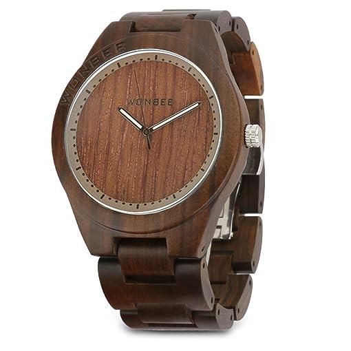 06dac32869c6 Reloj de madera Wonbee para hombres y mujeres-Artesanía hecha a mano relojes  de madera-banda de madera del reloj –bisel de madera- reloj de pulsera de  ...