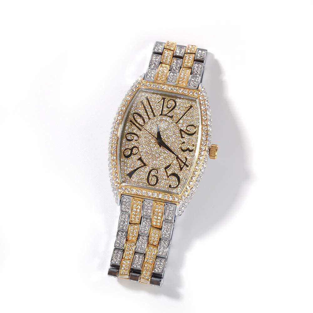 Herr utstansad tunnform kvarts armband armbandsur hip hop full diamant klocka 14 K guldpläterad klocka med simulerade kristaller guld+silver