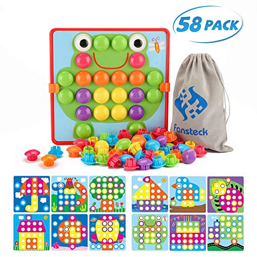 Fansteck Button Art Toy for Toddlers, Color Matching Early Learning Educational Mosaic Pegboard , Safe Nontoxic ABS Plastic Premium Material, 12 Pictures and 46 Buttons ,with a Bag Easy to Storag (Easy Arts And Crafts For 3 Year Olds)