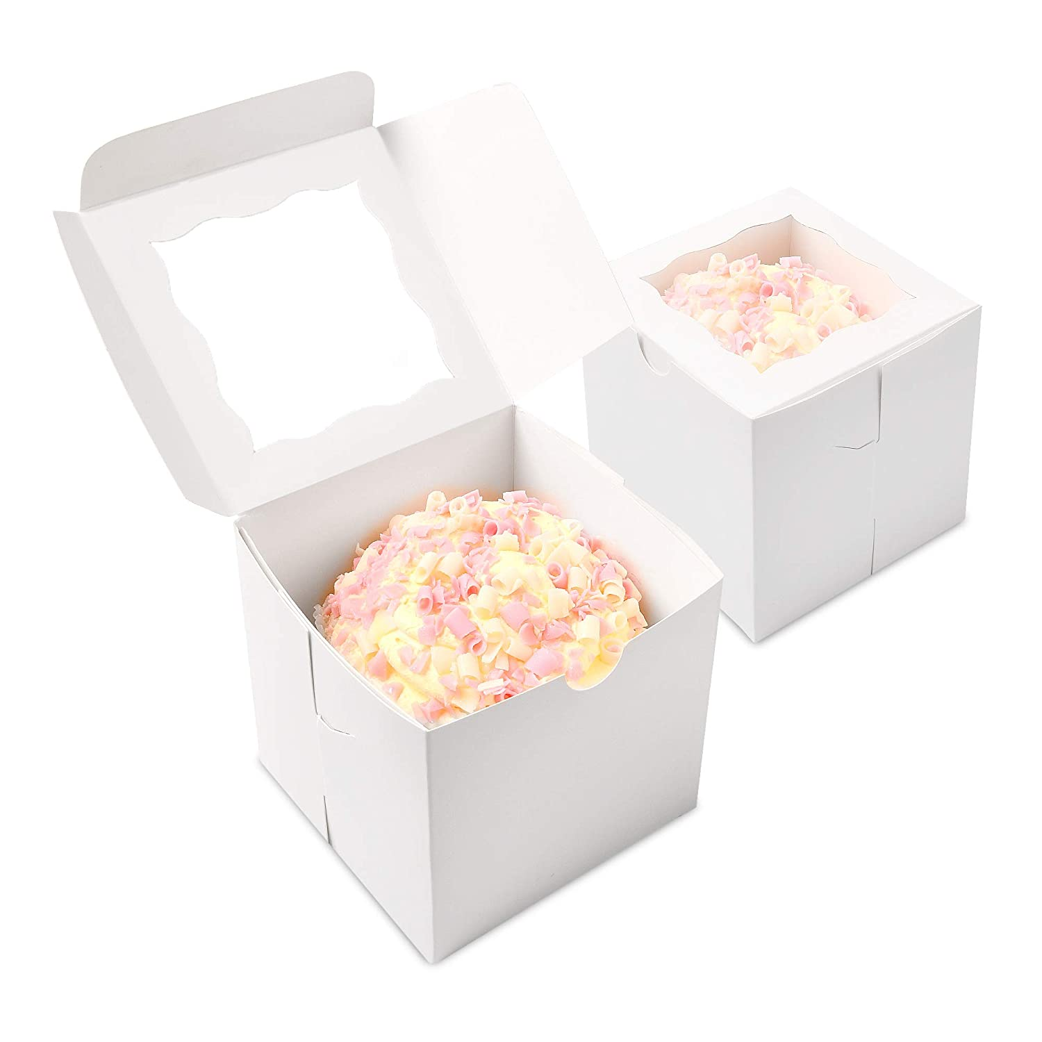 Cookies Candy Surf City Supplies {50-Pack} Brown 4X4X4 Bakery Boxes with Window Pastries Easy to Assemble Soap. Brownies Cheesecake Cupcakes Great for Cakes Essential Oil Pies Donuts