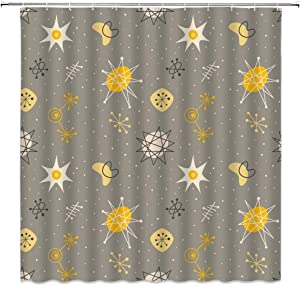 Mid Century Modern Shower Curtain Retro Space Atomic Starbursts Boomerangs 1950S Abstract Geometric Fabric Bathroom Decor,Hooks Included,71 X 71 Inches,Gray Yellow