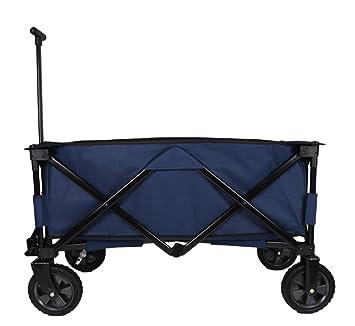Patio Watcher Heavy Duty Collapsible Folding Garden Cart Utility Wagon For  Shopping Outdoors , Blue