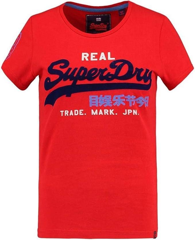Superdry - Camiseta de manga corta para mujer, diseño de logotipo vintage, color rojo Rojo Primary Red 44: Amazon.es: Ropa y accesorios