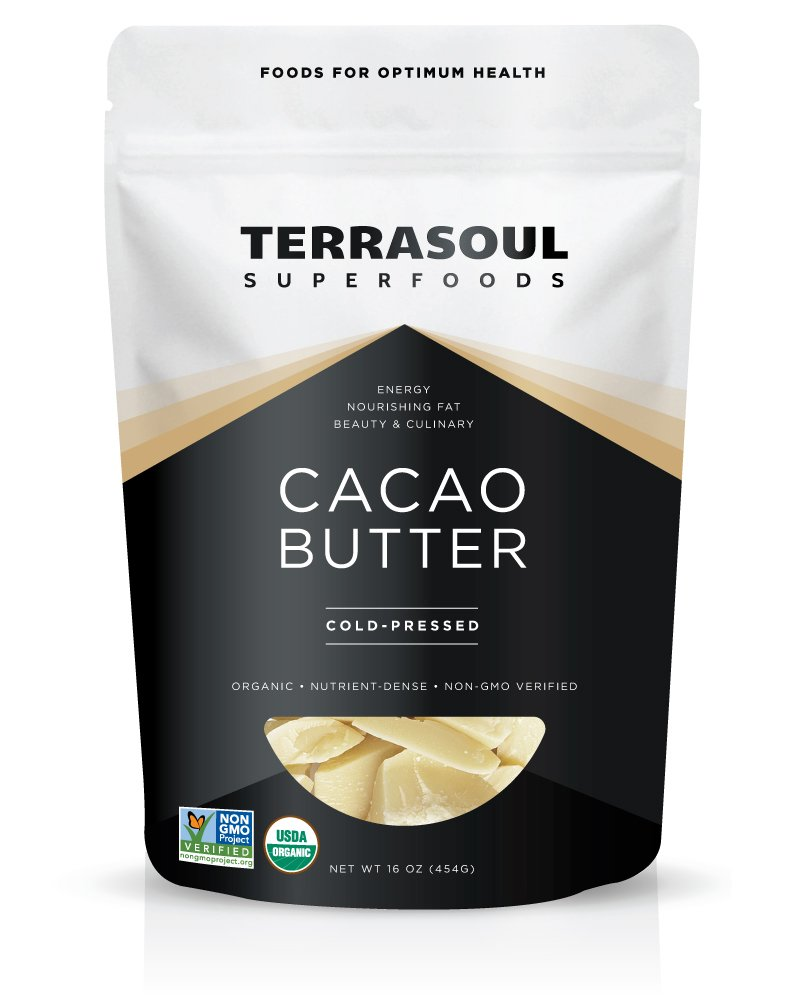 Terrasoul Superfoods Organic Cacao Butter, 1 Pound (Raw, Keto, Vegan Friendly)