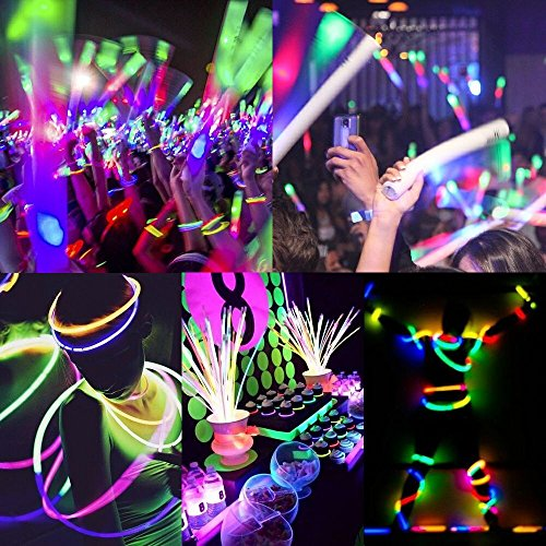 200 Glow Sticks Bulk Wholesale Necklaces, 22'' Glow Stick Necklaces+200 FREE Glow Bracelets! Bright Colors Glow 8-12 Hr, Connector Pre-attached(handy), Glow-in-the-dark Party Supplies, GlowWithUs Brand by Glow With Us (Image #5)