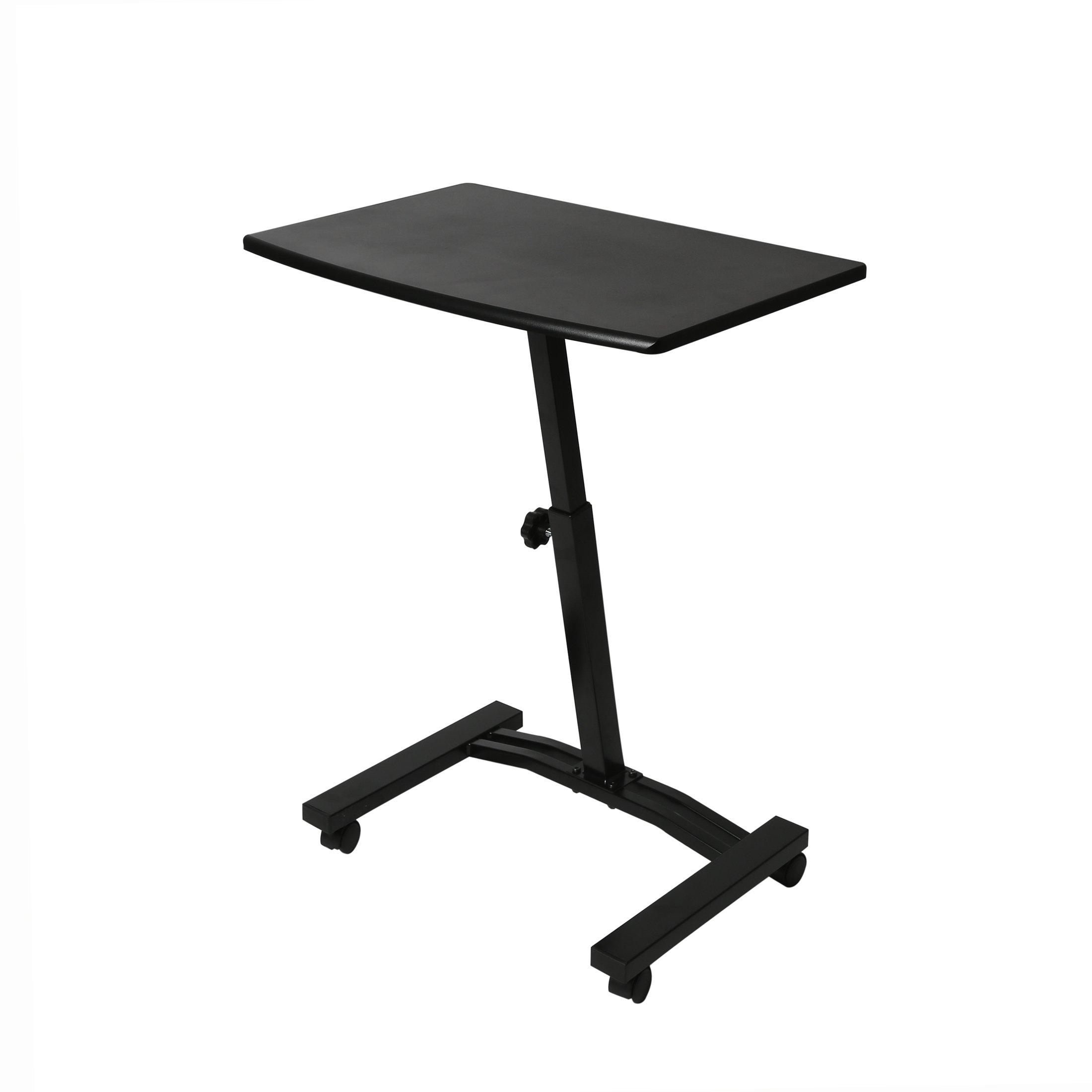 Seville Classics OFF65854 Mobile Laptop Sit Stand Computer Desk, 20.5'' x 33'', Black