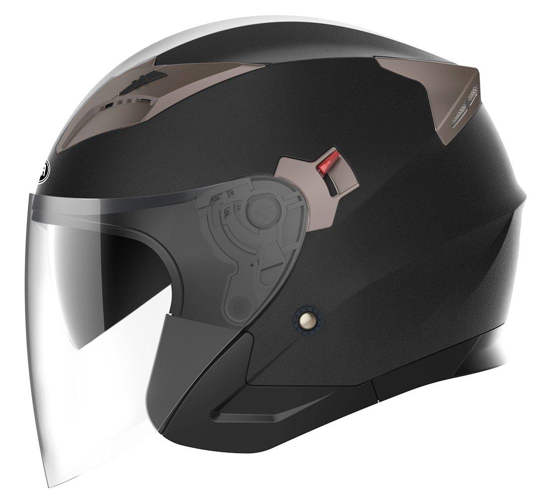 Motorcycle Open Face Helmet DOT Approved - YEMA YM-627 Motorbike Moped Jet Bobber Pilot Crash Chopper 3/4 Half Helmet with Sun Visor for Adult Men Women - Matte Black,Large
