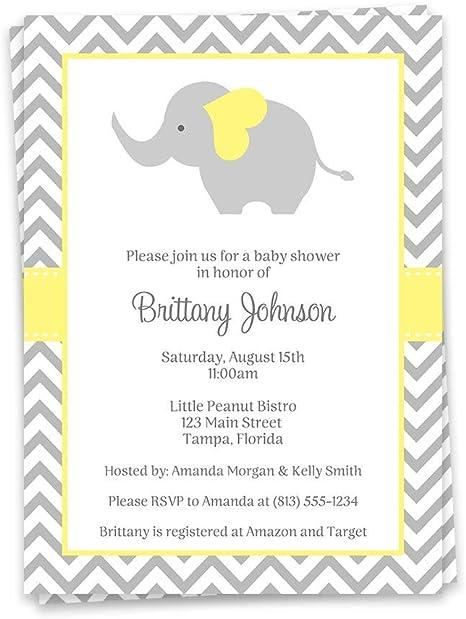 Gray Elephants with Yellow Chevron Print Baby Bib