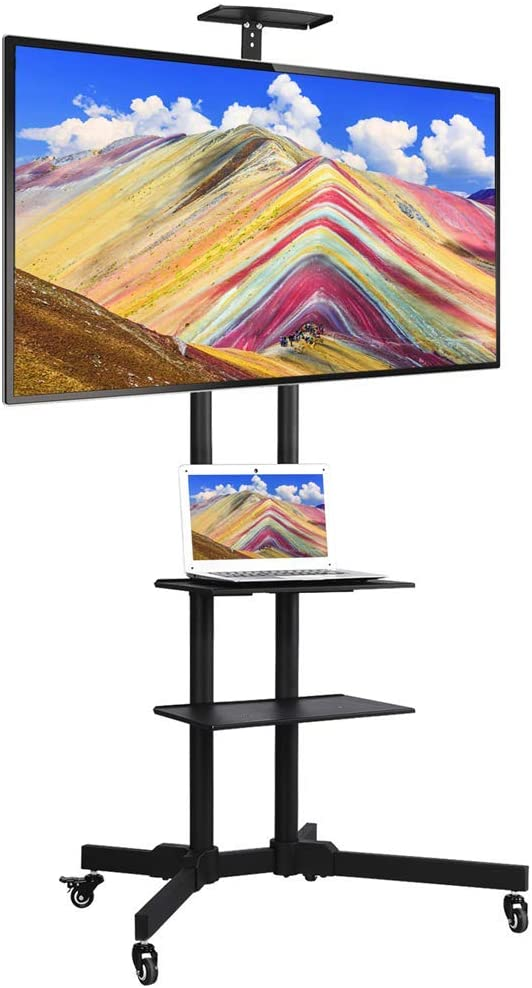 Yaheetech 32 to 65 in Universal Flat Screen TV Stand Carts Mobile TV Console Stand with Mount Plasma LCD LED Flat Screen Panel w Wheels