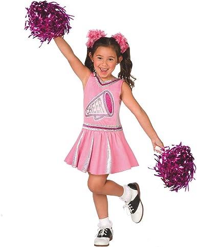 GIRLS PINK CHEERLEADER FANCY DRESS COSTUME MEDIUM AGE 7-9