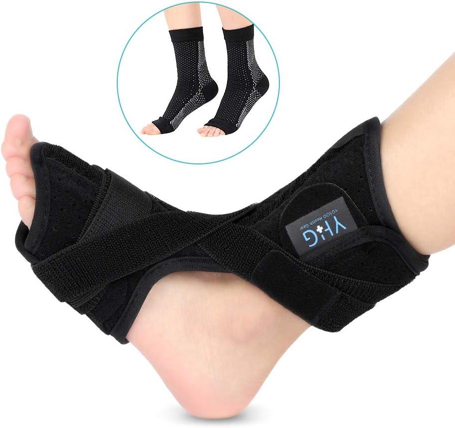Fascitis Plantar Nocturnos Férula para pies con calcetines de Compresión Férula dorsal Arco ortopédico para hombres y mujeres Tendinitis de Aquiles, Espuelas del talón, Alivio para el dolor del talón