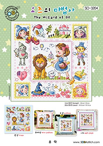 SO-3204 The Wizard of OZ, SODA Cross Stitch Pattern leaflet, authentic Korean cross stitch design chart color printed on coated paper