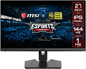 "MSI Full HD Gaming RGB Non-Glare Super Narrow Bezel 1ms 1920 x 1080 144Hz Refresh Rate Adjustable Height Arm FreeSync 27"" IPS Gaming Monitor (Optix MAG274R)"