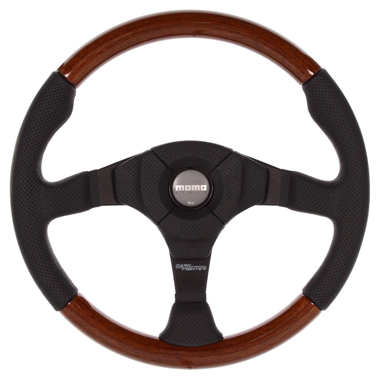 MOMO Steering Wheel Dark Fighter Wood Black Leather 350mm Genuine VDFIGHTER35W