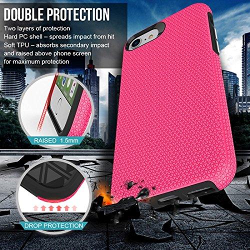 Mobile protection Para iPhone 8 y 7 PC + TPU Chrome plateó el botón de la caja protectora antirresbaladiza de la contraportada del botón de la prensa ( Color : Black ) Magenta