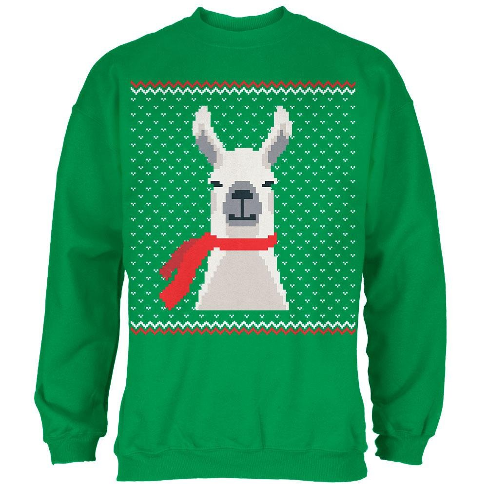 Old Glory Ugly Christmas Sweater Big Llama Irish Green Adult Sweatshirt