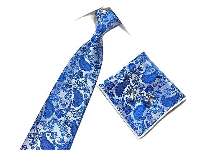 c31015d186ddc Amazon.com: Mens Handmade Polyester Silk Paisley Tie Pocket Square and  Cufflinks Set (Bright Blue): Clothing