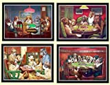 Dogs Playing Poker Master Set of 4 By C.m. Coolidge Framed Posters A+quality