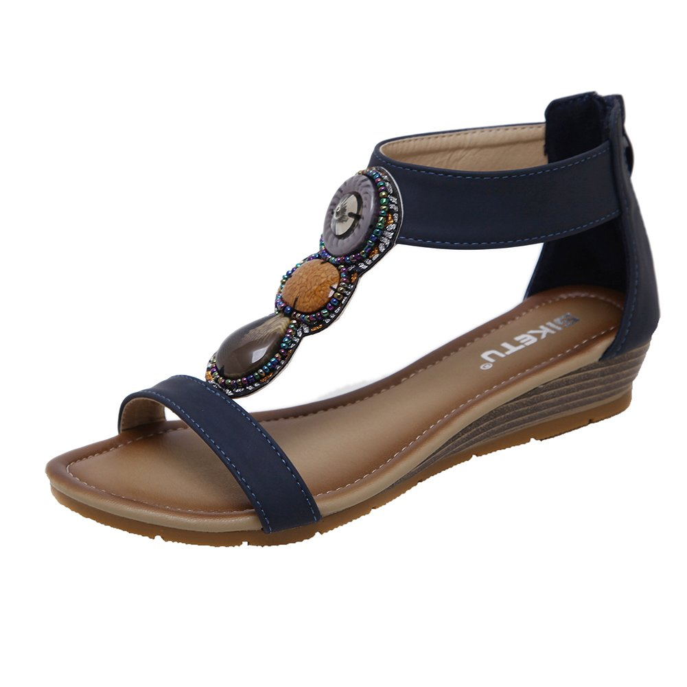 XINXIANG Women's Beaded Gladiator Ankle Strap Zipper Wedge Sandals B07D33XTJ9 7 B(M) US|Navy