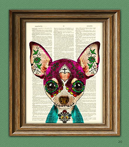 Dulce the Sugar Skull CHIHUAHUA Day of the Dead Mexican dog with a painted face illustration beautifully upcycled dictionary page book art -