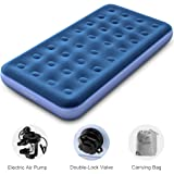 LANGRIA Air Mattress Plush Flocked Mid-Raise Air Bed with Easy Inflate External Handheld Electric Air Pump Comfortable Water and Tear Resistant for Home Camping RV (8.5 Inches Height, Twin Size)