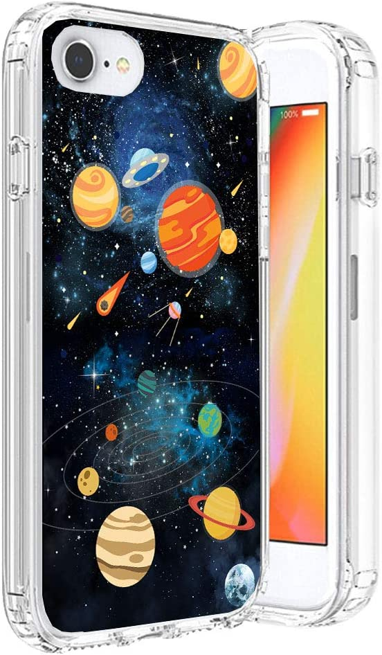 HUIYCUU Compatible with iPhone SE2 SE 2020 for iPhone 8 iPhone 7 Case,Shockproof Anti-Slip Cute Glitter Clear Design Funny Pattern Slim Fit Soft Bumper Girl Women Cover Case, Colorful Planets