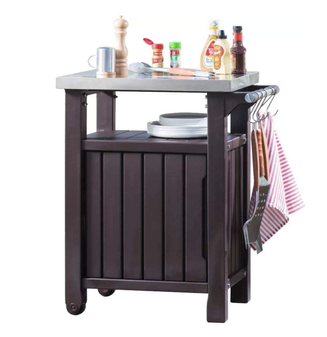 BBQ Bar Table Small Patio Furniture Outdoor Garden Cupboard Side Storage Cabinet Barbecue Entertainment Professional Metal Stainless Steel Work Top Brown Plastic Resin 2 Wheels 1 Door Serving Trolley Home & Garden