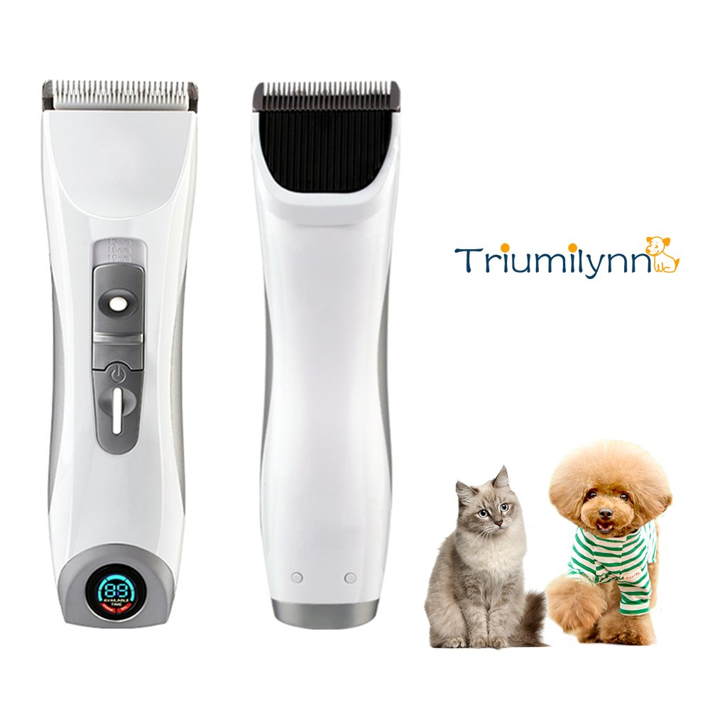 Triumilynn Silent Dog Cat Groomer Clippers, Cordless Pet Trimmer Shavers Set, Rechargeable Animal Hair Grooming Clipper with 4 Size Combs Attachment, USB Charging Cord