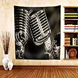 Gzhihine Custom tapestry Closeup of Chromed Retro Recording Studio Microphones - Fabric Tapestry Home Decor inches