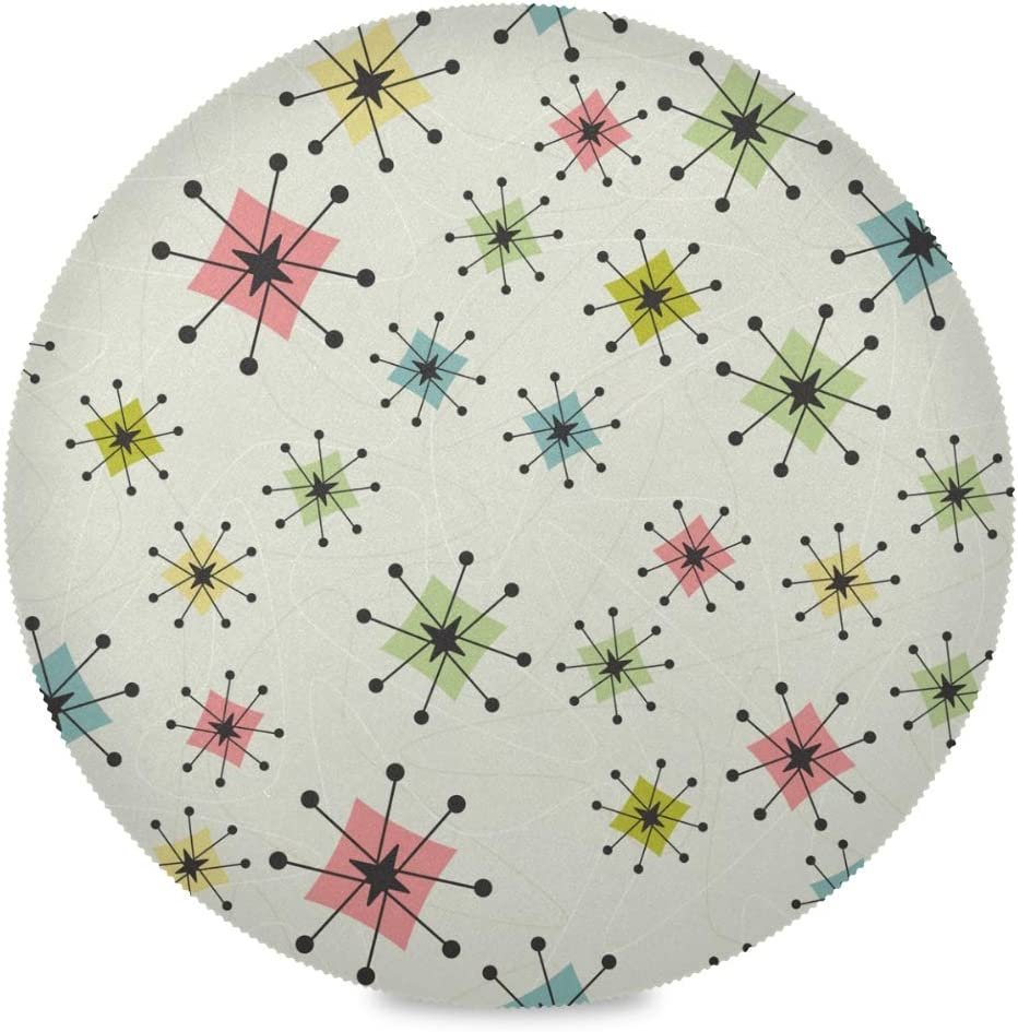 Blueangle Retro Atom Star Pattern Round Placemats for Dining Table Set of 6 Polyester Washable Table Placemats Table Decoration Heat Insulation Stain Resistant