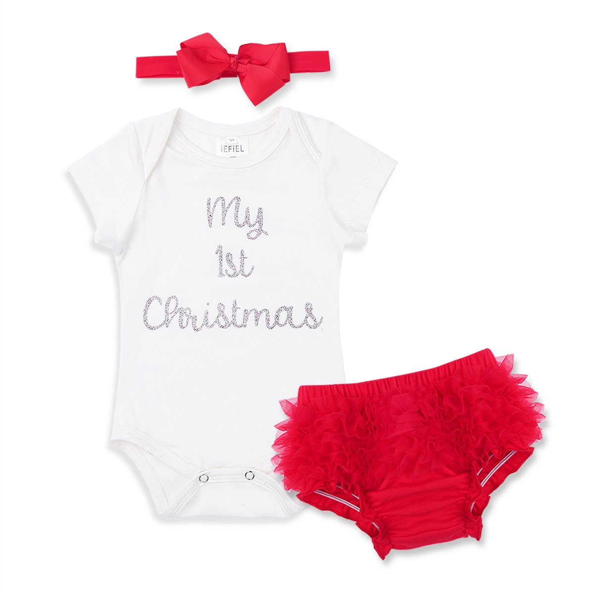 FEESHOW Infant Baby Girls My 1st Christmas Outfits Costumes Romper Bodysuit with Tutu Skirt Headband Set
