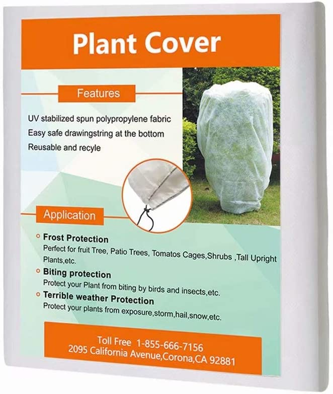 Agfabric Plant Cover Square Warm Worth Frost Blanket – 0.95 oz Fabric of 200 x 200 Shrub Jacket, Rectangle Plant Cover with Zipper for Season Extension Frost Protection