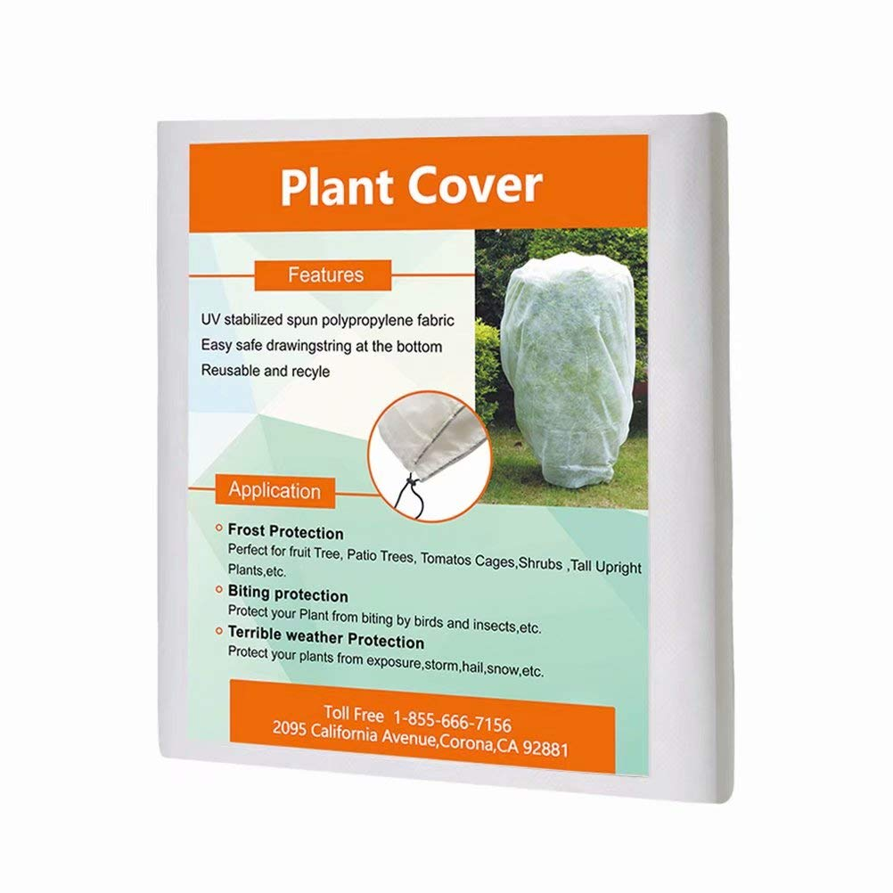 Agfabric Cover Plants Warm Worth Frost Blanket, 0.95 oz 168 x 168 ,Rectangle Hanging Plant Jacket Shrub Jacket for Season Extension Frost Protection