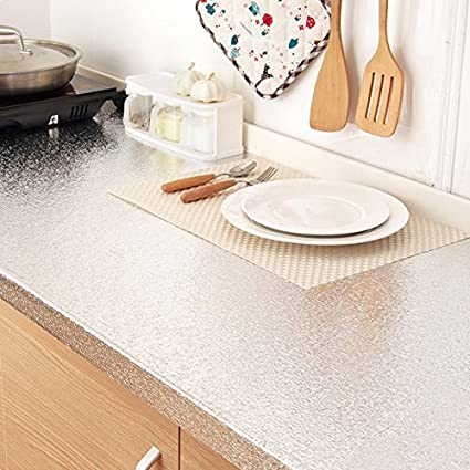 Bestevers Kitchen Waterproof Aluminum Foil Stickers Anti Greasy Countertop  DIY Peel Stick Wallpaper Decal,24