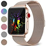 DaQin Bands Compatible with Apple Watch Band 38mm 40mm for Women and Men, Milanese Metal Magnetic Mesh Loop Wristbands for Apple iWatch Series 4 Series 3/2/1, Rosegold