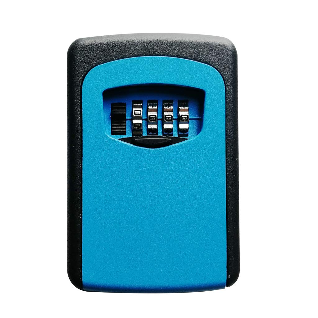 Homyl 4 Dial Key Storage Box Combination Lock Box with Password Protective Cover - 1# Blue