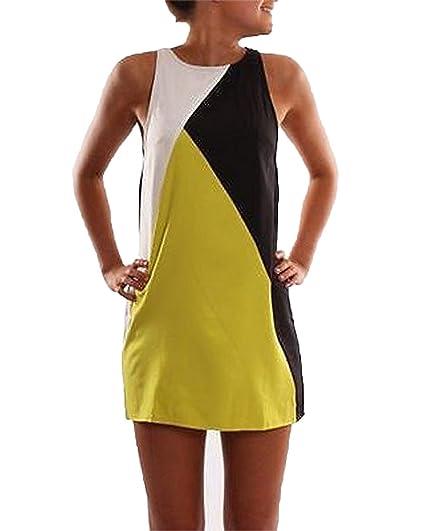 58923ed0c26 Mine Tom Mujer Chicas Verano Mini Vestido Patchwork Sin Mangas Vestir A-Line  Playa Vestir: Amazon.es: Ropa y accesorios