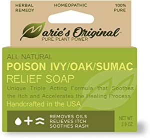 Marie's Original Poison Ivy Soap Bar | All Natural Poison Ivy Treatment | Anti-Itch Skin Cleanser Bar Wash for Poison Ivy, Poison Oak & Sumac | Removes Oils, Soothes & Relieves Rashes | 2.9 ounces
