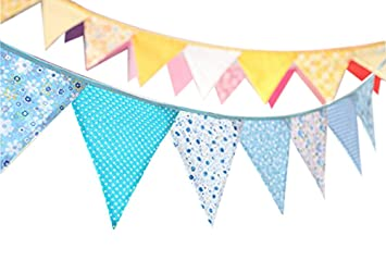 4ff30b20f5b Ellen Tool Fabric Bunting Banners(Set of 12)-100% Durable Cotton-