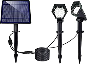BOHON Solar Spot Lights Outdoor 5 LEDs Landscape Spotlights IP65 Waterproof Solar Powered Wall Light 2-in-1 Outdoor Solar Landscaping Lights for Yard Garden Driveway Walkway Patio Cool White